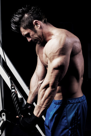 Triceps Pull down Stock Photo