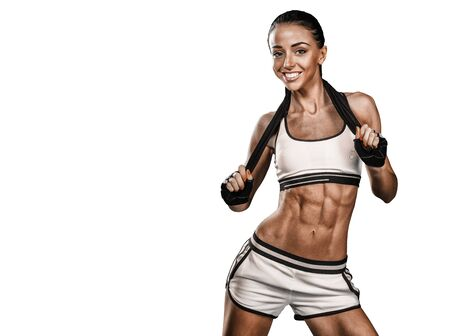beautiful young sporty women doing exercises with dumbbells