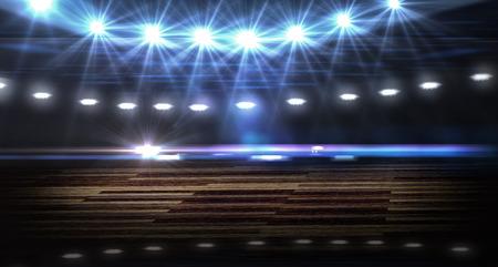 cancha de basquetbol: hermosa cancha de baloncesto con luces y parquet
