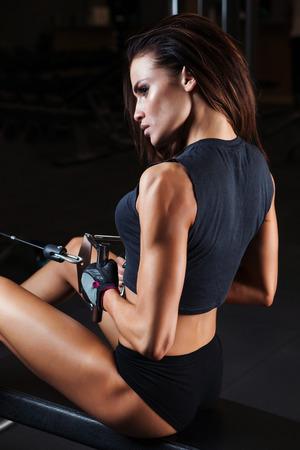 sport wear: Fitness woman in sport wear with perfect fitness body