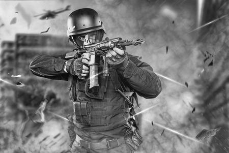 officer: Spec ops police officer SWAT in black uniform studio