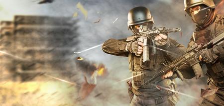 anti nato: Spec ops police officer SWAT in black uniform studio