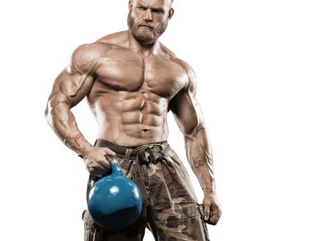 muscle training: Muskulöser athletischer Bodybuilder Fitness-Modell posiert nach Übungen im Fitness-Studio Lizenzfreie Bilder