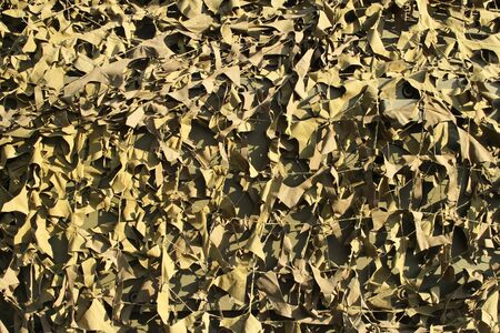 background with camouflage mesh on a sunny day for design on a military theme