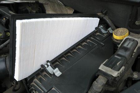 Vehicle maintenance, new fresh Intake air filter, car servicing and repair engine procedure