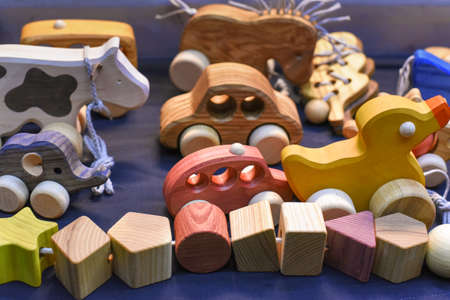 various wooden toys as a gift, eco-friendly and safe handmade products for children development and learning
