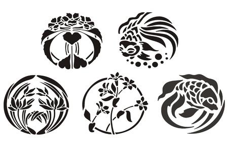 dessin tribal: Poissons d�coratifs et d'ornement la flore