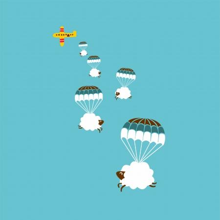 ovejita bebe: ovejas sin fisuras patr�n blanco y nube en el cielo, ilustraci�n vectorial Vectores