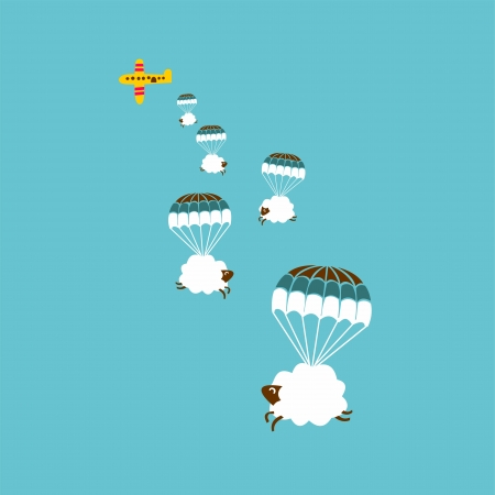 seamless pattern white sheep and cloud on the sky  vector illustration Vector