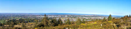 Panorama of South Dublin. Aerial panoramic view of South Dublin taken form Ticknock Forest during the COVID-19 outbreak, April 2020, Dublin, Ireland Stock Photo
