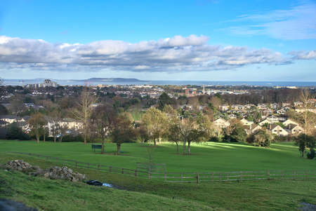 Stunning view of South Dublin with a golf course in foreground and houses in background taken from Stepaside, Co. Dublin, Ireland