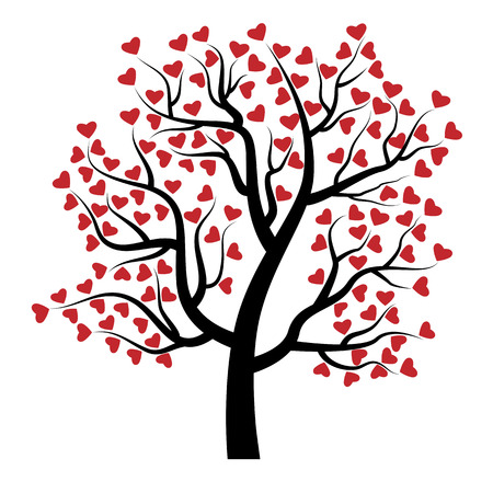 lush foliage: Valentine tree with red hearts isolated on white background. Beautiful love plant.