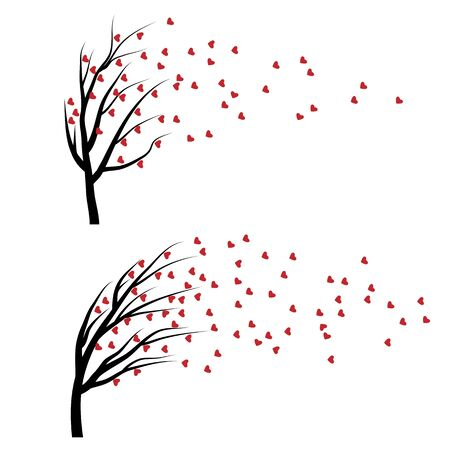 love tree: Set of Valentine tree with red falling hearts isolated on white background. Beautiful romantic love plant.