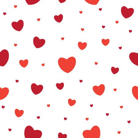 Red heart on white background. Valentine seamless pattern.