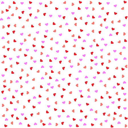 Red pink hearts pattern seamless on white background. Valentine.