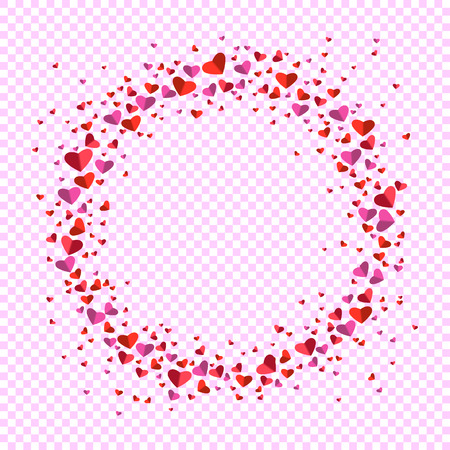 Romantic circle of small and big flat hearts illustration.