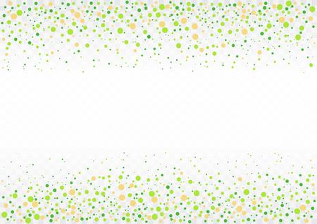 Festliche Fliegenfrühlingsgrün-Konfettikarte auf transparentem Hintergrund. Vektor-Illustration.