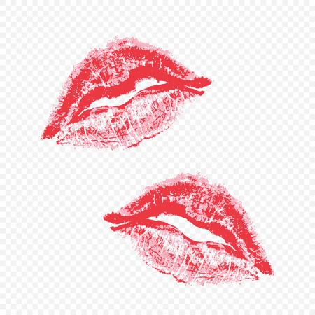 Imprint beautiful red lips on transparent background.