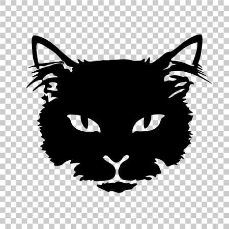 Silhouettieren Sie Gesichtdrucktätowierung der schwarzen Katze, die auf transparentem Hintergrund lokalisiert wird. Standard-Bild