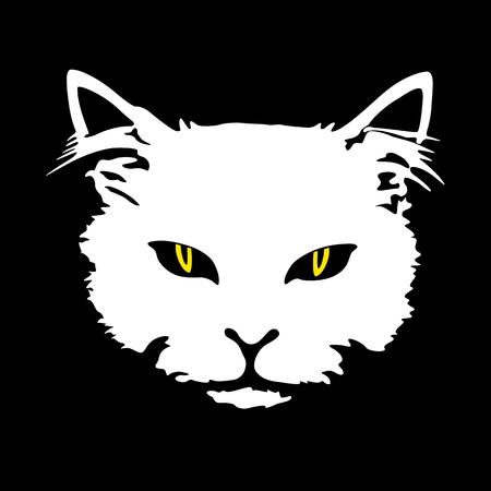 La cara blanca del gato de la silueta con los ojos amarillos imprime el tatuaje aislado en fondo negro. Foto de archivo - 81781471