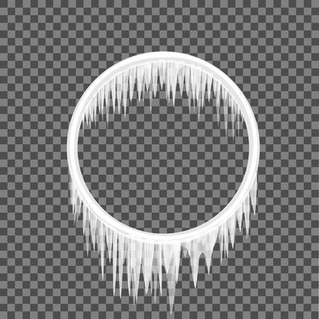 원형 프레임 차가워 요 투명 한 배경입니다. 벡터 일러스트 레이 션 고 드 름 설정합니다. 냉동 된 만화 녹은 눈. icicle 설정 일러스트