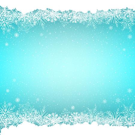 Falling magic snowfall on beautiful Christmas background. Blue snow and snoweflakes backdrop. Vector Illustration.