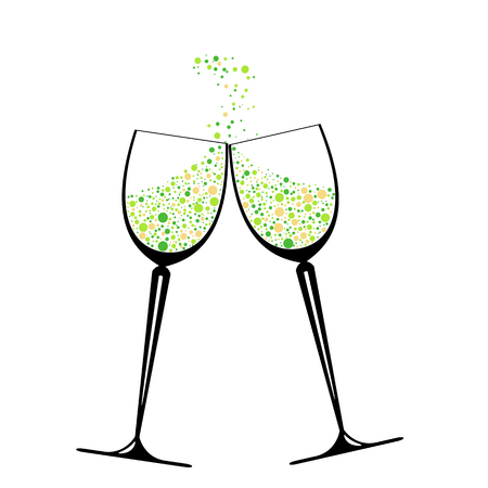 Two glasses with colorful confetti . Festive beautiful set of a wineglass. Nice holiday card for enamored . Vector Illustration