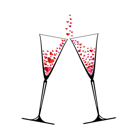 Two glasses with colorful hearts . Festive beautiful set of a wineglass. Nice holiday card for enamored . Vector Illustration
