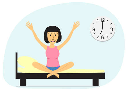 The girl wakes up in the morning. Flat vector illustration. Young woman sitting on bed. Big clock on the wall Illustration