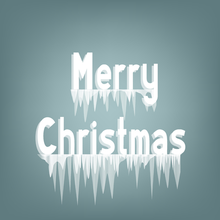 Merry Christmas icicles text on frost background. Icicles frozen on the lettering. Winter holiday. Vector illustration.