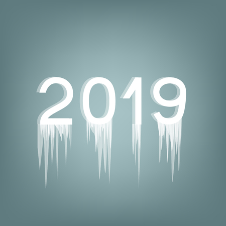 Inscription 2019 ice number. Icy name of the year. Icicles hang from numeric. Vector illustration. Lettering on frost background. Icicles frozen on the text. Winter holiday.