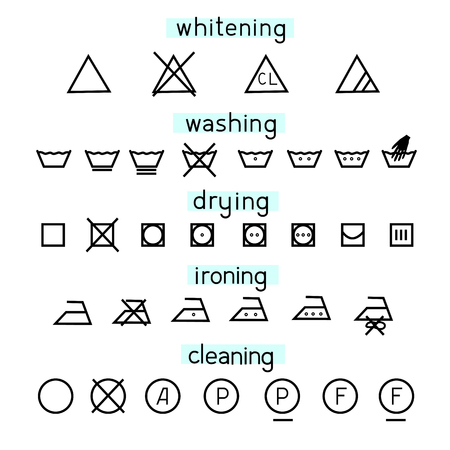 Wash icons and symbols on white background. Simple set sign decoding for washing. Line flat design clothing label. Vector illustration.