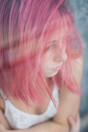 provoking: Pink hair young girl intimate portraits through the window