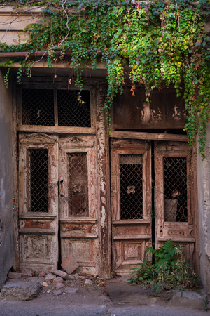 Cascades of autumn colored Ivy leaves falling down the old wooden door of the old half ruined house in Tbilisi, narrow street. photo