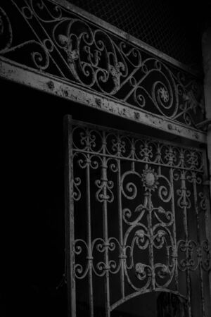 initials: Black and white picture of old iron gate detail, curved, with initials.