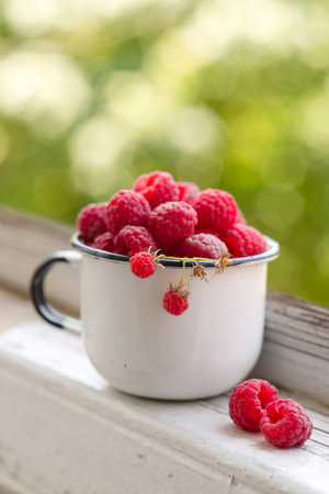 enamel vintage cup full of raspberries, summer taste Stock Photo