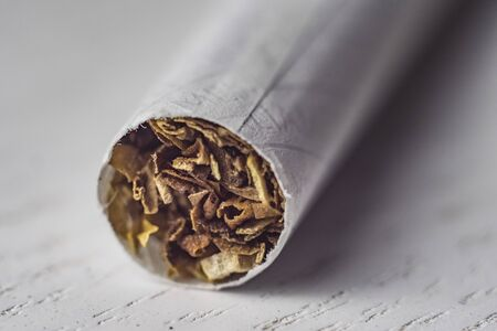 Cigarette macro on White background 写真素材
