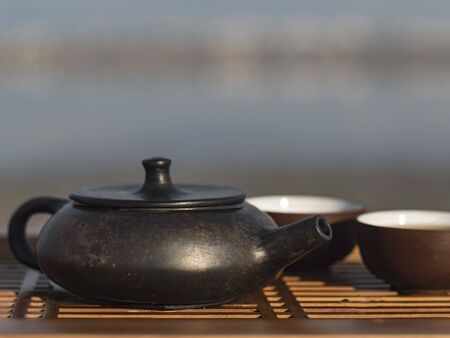 Vintage chinese set with black tea ceremony yixing teapot on green background