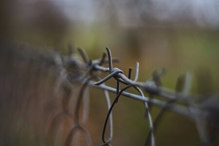 barbed wire on the fence 写真素材