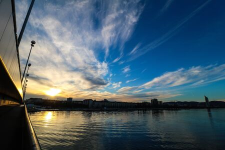 Evening Mood at the Danube in Vienna Stock Photo