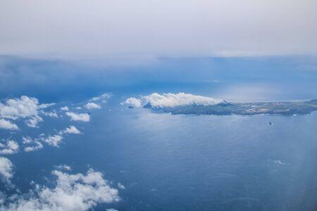 Madeira - Porto Santo viewed from the airplane Stock Photo
