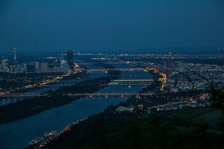 Panorama view of Vienna, Austria seen from Leopoldsberg (Leopold Hill) in the night