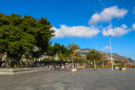 The harbor promenade of Funchal on the island Madeira, Portugal Stock Photo