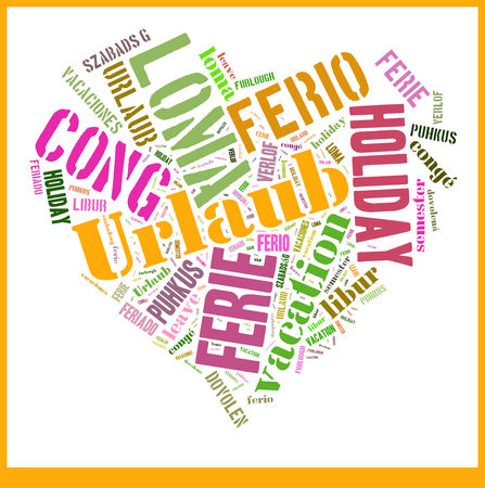 the furlough: Wordcloud with international expressions for the word Vacation