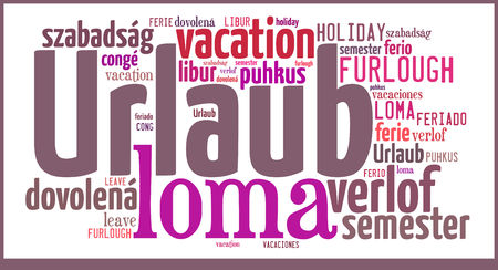 Wordcloud with international expressions for the word Vacation Stock fotó