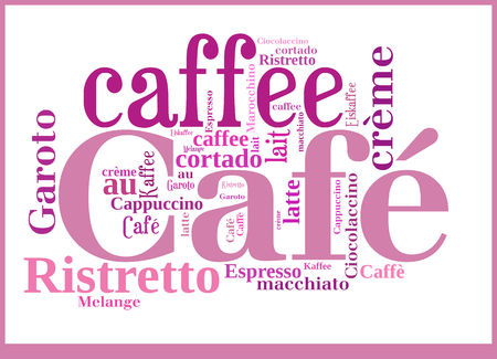 Word Cloud International Caffee specialities Stock Photo