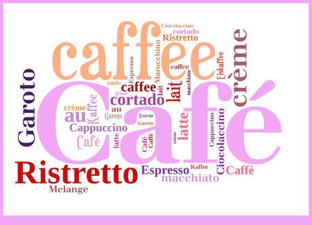 Word Cloud International Caffee specialities Stock Photo