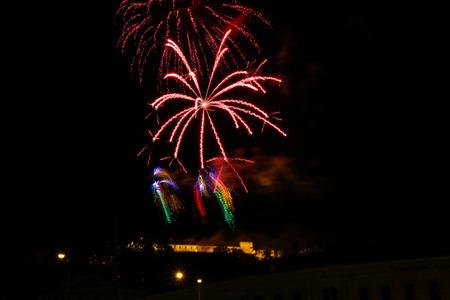 Firework at the Fortress and Castle Spilberk, Brno, Czech Republic Фото со стока