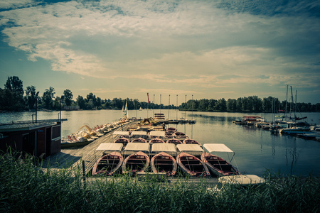 Summer at the Danube creek in Vienna, Austria Stock Photo