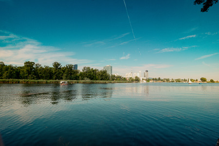 Summer at the Danube creek in Vienna, Austria Stock Photo